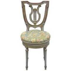 French Louis XVI Style Blue and Red Harp Lyre Back Swivel Accent Vanity Chair