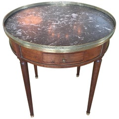 French Louis XVI Style Bouillotte Table with a Marble Top, 19th Century