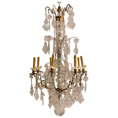 French Louis XVI Style Bronze and Crystal Chandelier Attributed to Baccarat