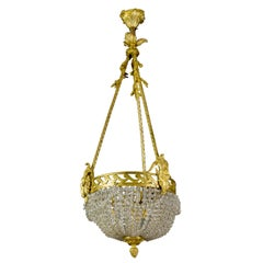 French Louis XVI Style Bronze and Crystal Glass Three-Light Chandelier, 1920s