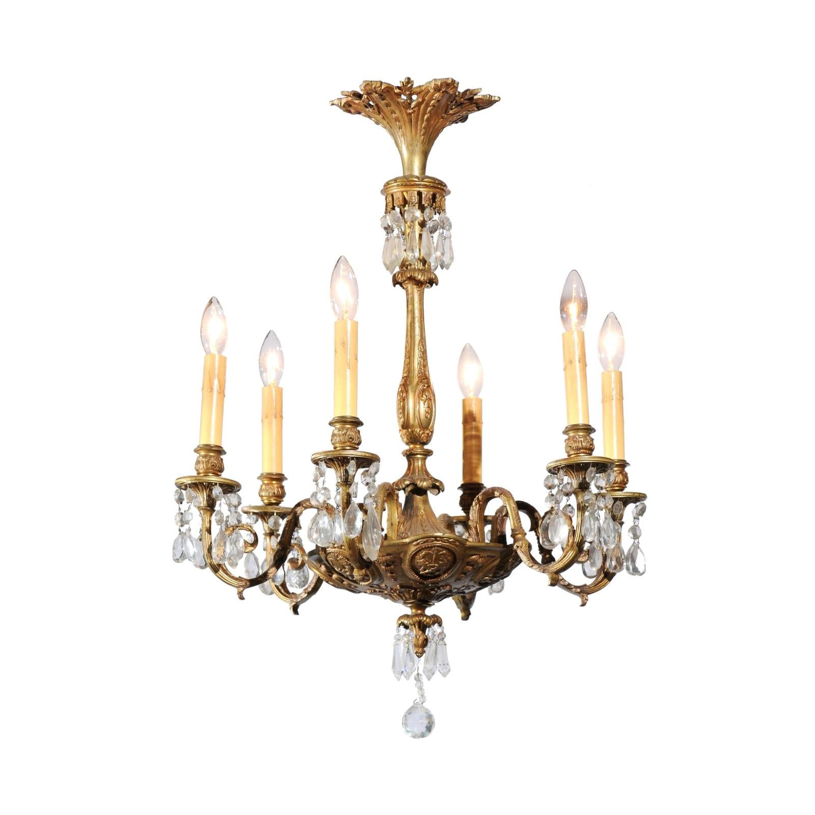 French Louis XVI Style Bronze and Crystal Six-Light Chandelier with Foliage