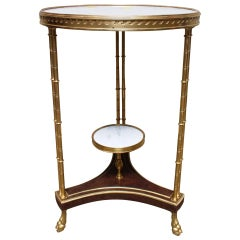 French Louis XVI Style Bronze, Burled Walnut Side Table with a White Marble Top