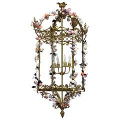 French Louis XVI Style Bronze Doré 4-Light Lantern with Porcelain Flowers