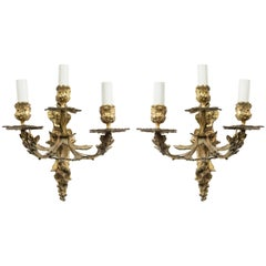 French Louis XVI Style Bronze Dore Wall Sconces