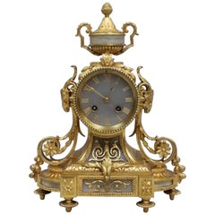 French Louis XVI Style Bronze Gilt and Alabaster Mantel Clock by Japy Frères