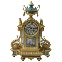 French Louis XVI Style Bronze Gilt and Porcelain Mantel Clock