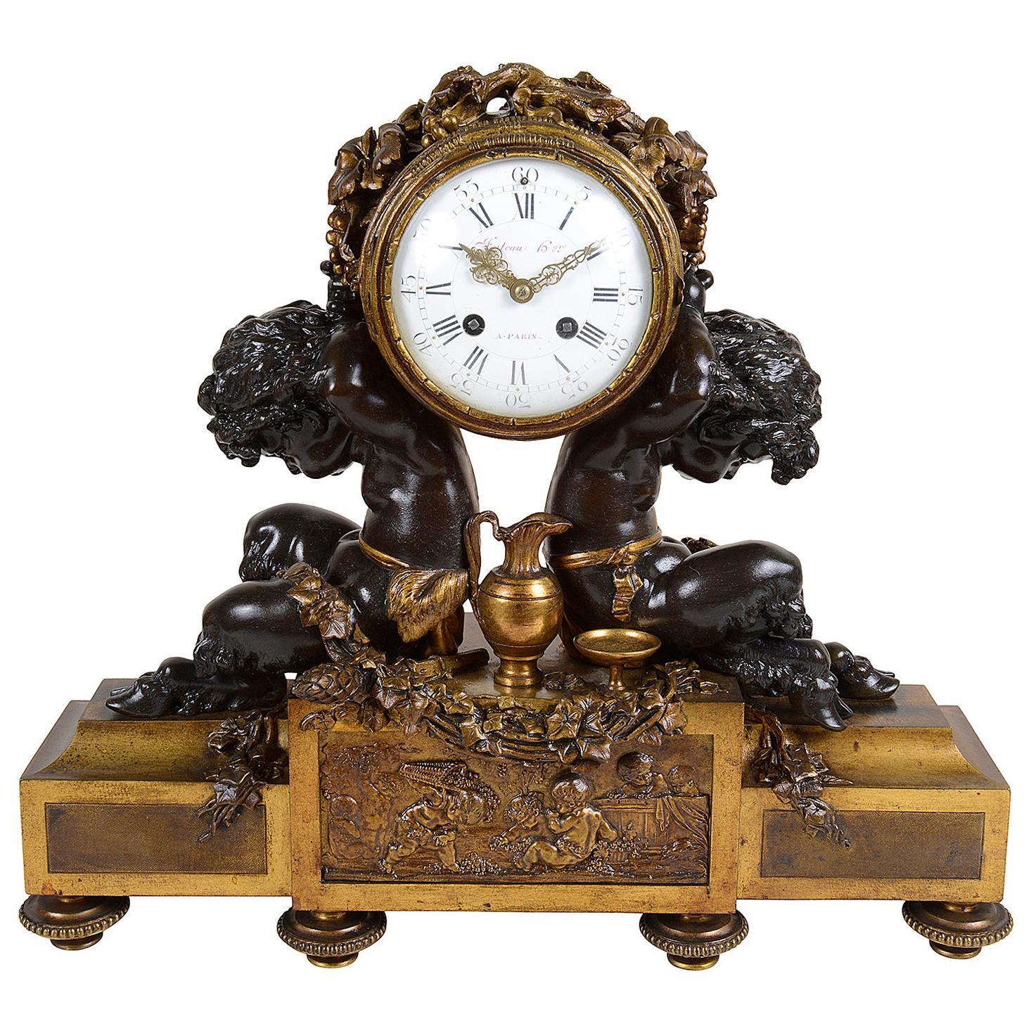 French Louis XVI Style Bronze Mantel Clock