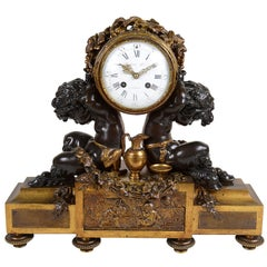 French Louis XVI Style Bronze Mantel Clock