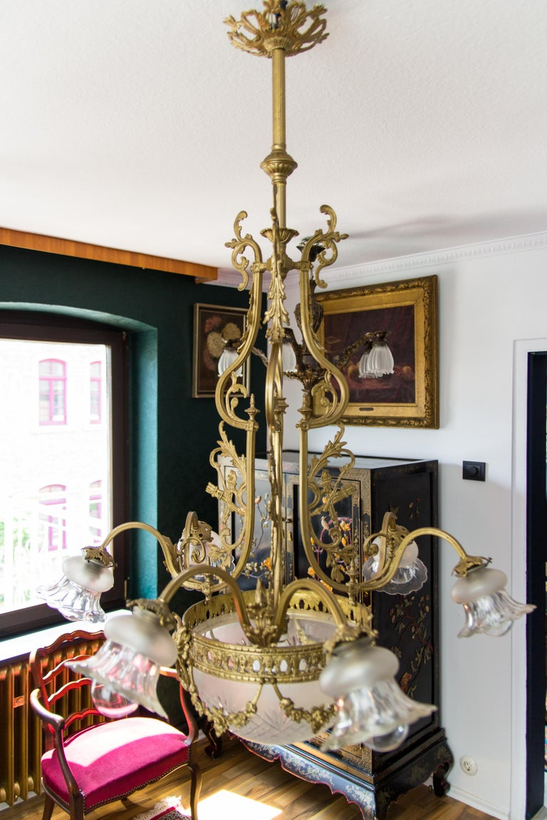 French Louis XVI Style Bronze Seven-Light Chandelier For Sale 7
