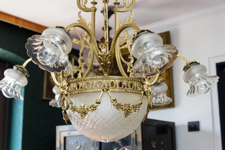 Early 20th Century French Louis XVI Style Bronze Seven-Light Chandelier For Sale