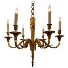 French Louis XVI Style Bronze Six-lights Chandelier