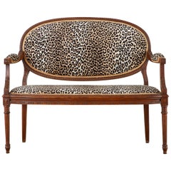 French Louis XVI Style Canape Settee with Leopard Print