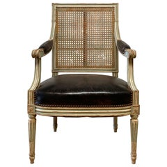 French Louis XVI Style Cane Back and Leather Upholstered Arm Chair