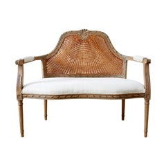 French Louis XVI Style Caned Back Linen Settee
