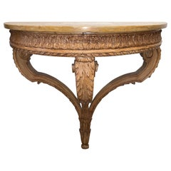French Louis XVI Style Carved and Waxed Pine Demilune Console