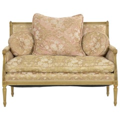 French Louis XVI Style Carved Beech White Painted Antique Sofa Settee Loveseat