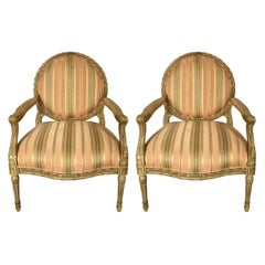 French Louis XVI Style Carved Fauteuil Bergère Armchairs by Henredon, Pair