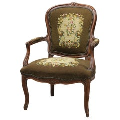 French Louis XVI Style Carved Fruitwood and Needlepoint Armchair, circa 1900