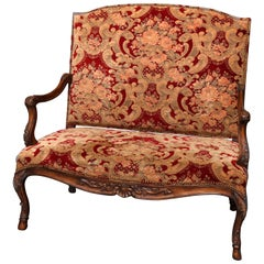 French Louis XVI Style Carved Fruitwood Upholstered High Back Settee
