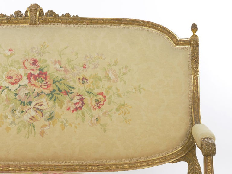 French Louis XVI Style Carved Giltwood Antique Settee Loveseat Sofa 20th Century For Sale 3