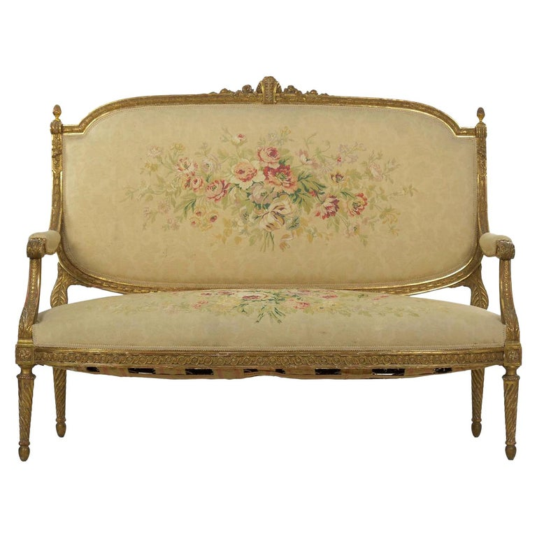 French Louis XVI Style Carved Giltwood Antique Settee Loveseat Sofa 20th Century For Sale