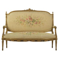 French Louis XVI Style Carved Giltwood Antique Settee Loveseat Sofa 20th Century