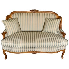 French Louis XVI Style Carved Settee Loveseat with Silk Striped Upholstery