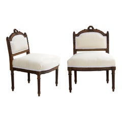 French Louis XVI Style Carved Walnut Antique 'Boudoir' Accent Side Chairs, Pair
