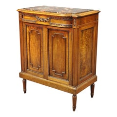 French Louis XVI Style Carved Walnut Marble Top Nightstand Cabinet