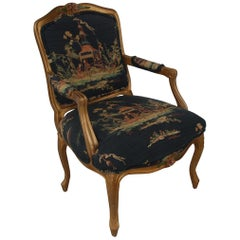 French Louis XVI Style Carved Wood and Chinoiserie Print Armchair