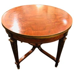 French Louis XVI Style Center Table Circular, Inlaid with Fine Bronze Mountings