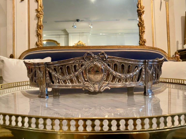 French Louis XVI Style Centerpiece in Silvered Bronze, 19th Century For Sale 11