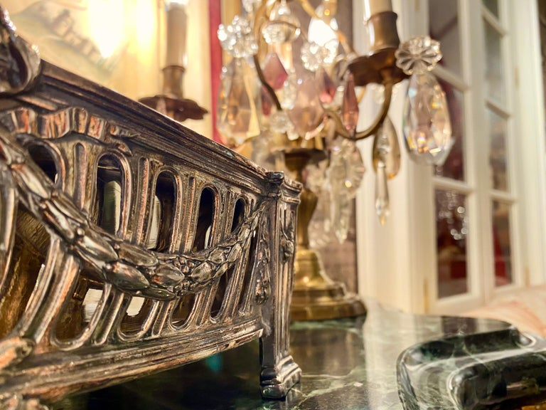 French Louis XVI Style Centerpiece in Silvered Bronze, 19th Century For Sale 14