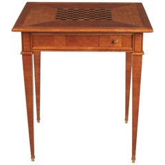 French Louis XVI Style Cherrywood Game Table, 1940s
