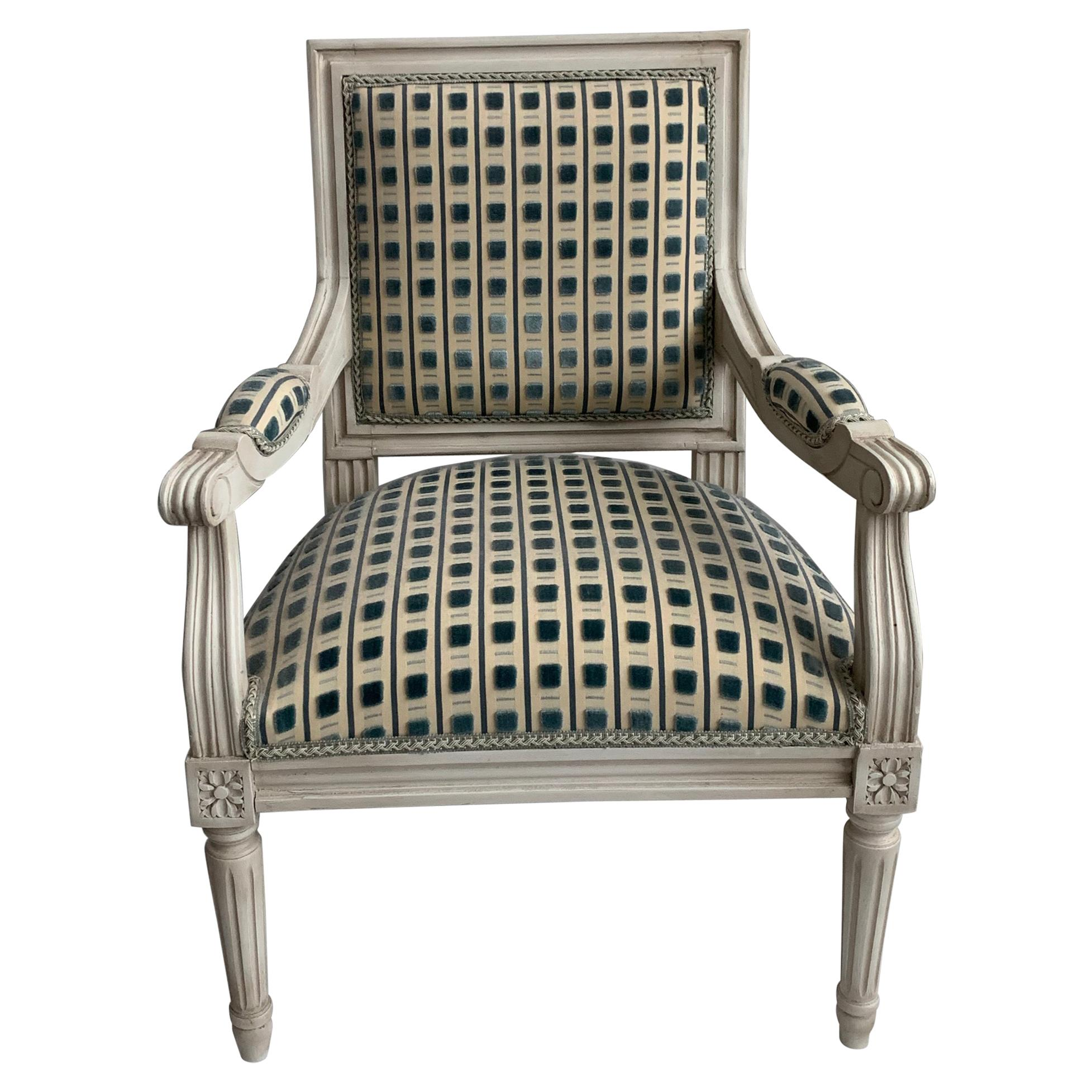 French Louis XVI Style Children's Upholstered Armchair