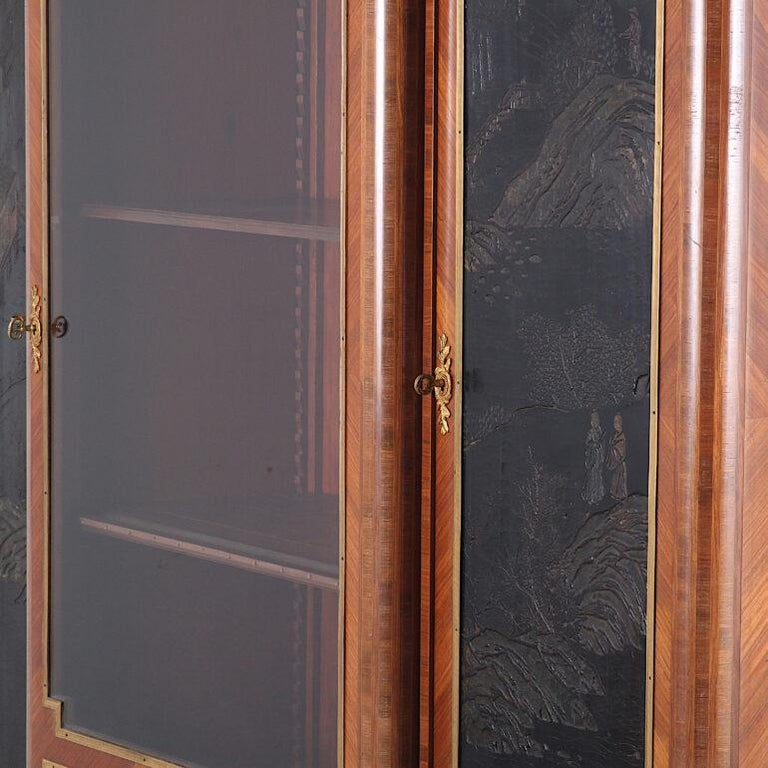 Lacquered French Louis XVI Style Chinoiserie Three-Door Bookcase or Armoire 'L. Bontemps' For Sale