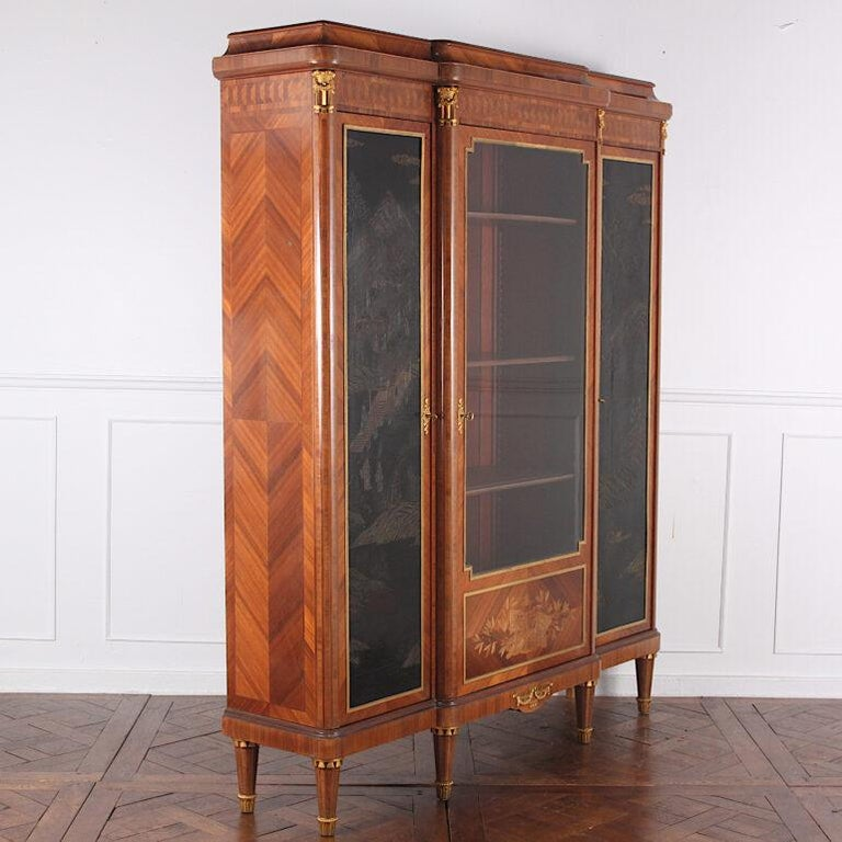 Kingwood French Louis XVI Style Chinoiserie Three-Door Bookcase or Armoire 'L. Bontemps' For Sale