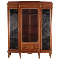 French Louis XVI Style Chinoiserie Three-Door Bookcase or Armoire 'L. Bontemps'
