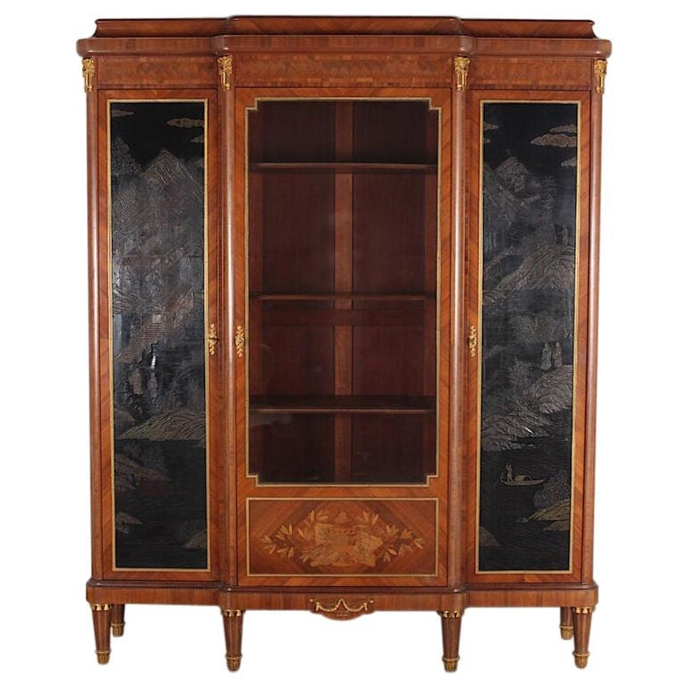 French Louis XVI Style Chinoiserie Three-Door Bookcase or Armoire 'L. Bontemps' For Sale