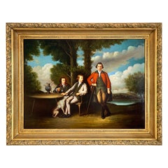 French Louis XVI Style Classical Original Oil Painting of Three Men in Repose