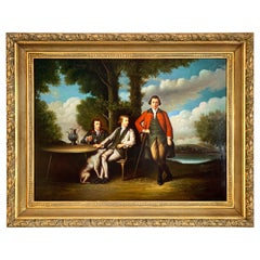 Large Classical Original Oil Painting of Three Men and a Dog