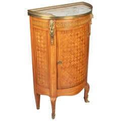 French Louis XVI Style Demilune Console Cabinet