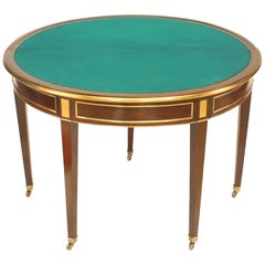 French Louis XVI Style Demilune Shaped Double Flip-Top Game Table