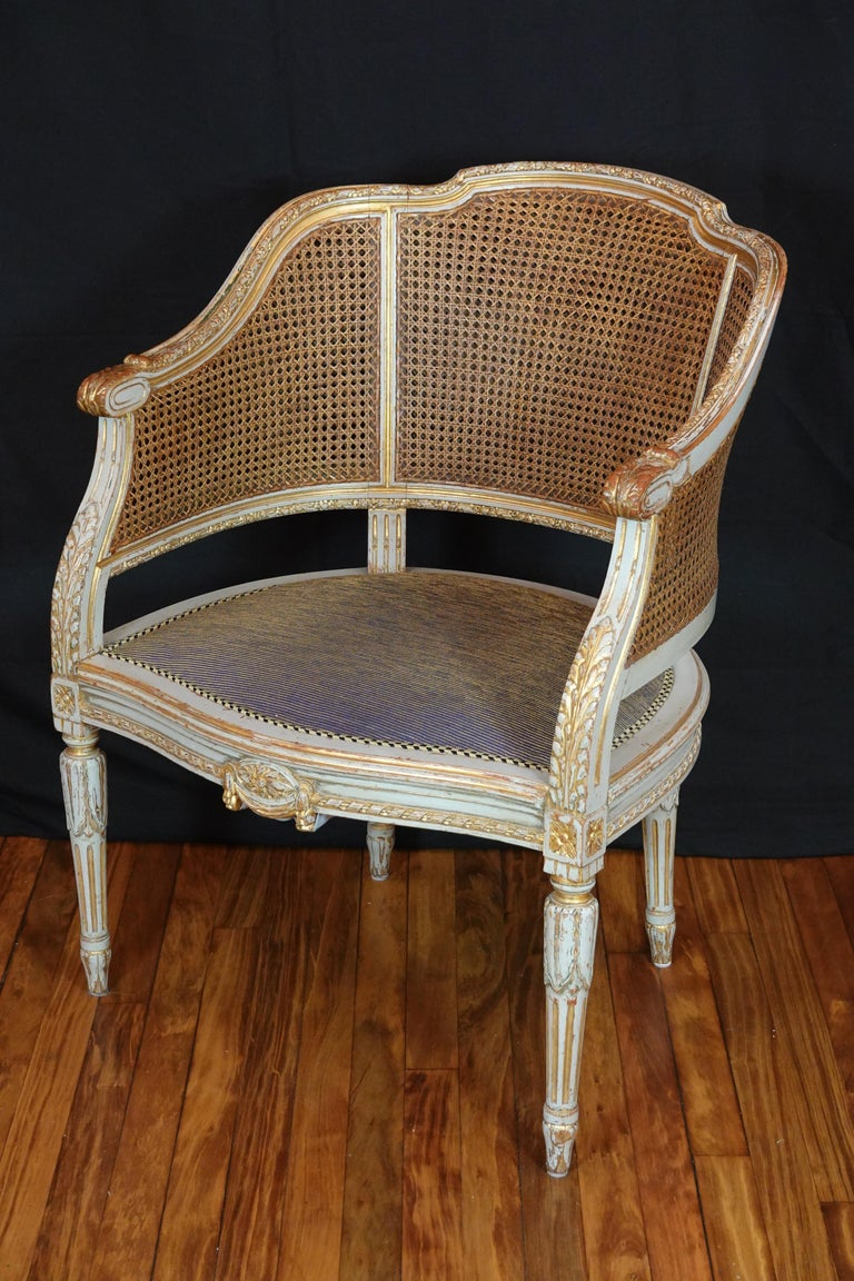 French Louis XVI Style Desk Chair with Caned Back and Upholstered Seat For Sale 4
