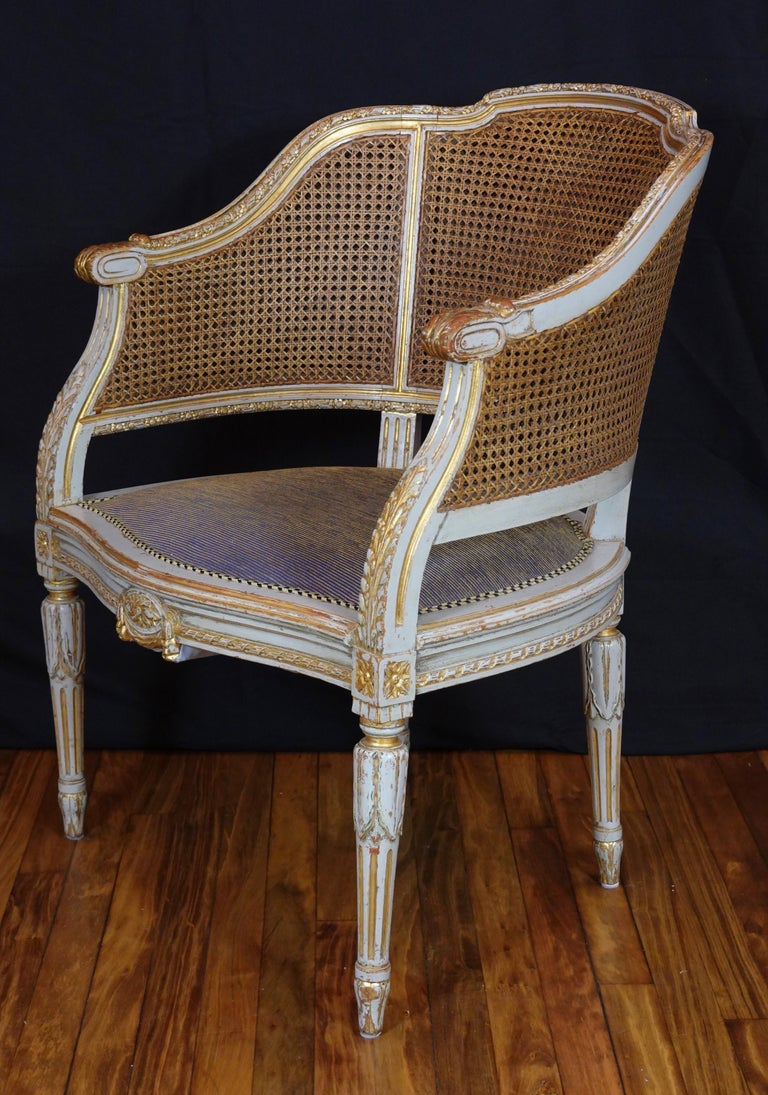 French Louis XVI Style Desk Chair with Caned Back and Upholstered Seat For Sale 5
