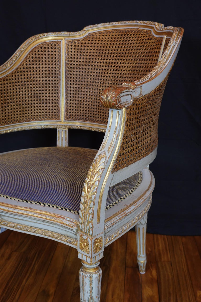 French Louis XVI Style Desk Chair with Caned Back and Upholstered Seat For Sale 6