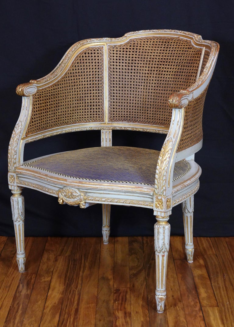 French Louis XVI Style Desk Chair with Caned Back and Upholstered Seat For Sale 7