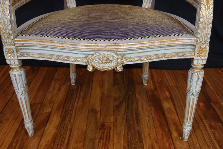 French Louis XVI Style Desk Chair with Caned Back and Upholstered Seat For Sale 8