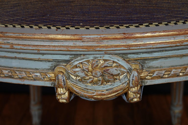 French Louis XVI Style Desk Chair with Caned Back and Upholstered Seat For Sale 9