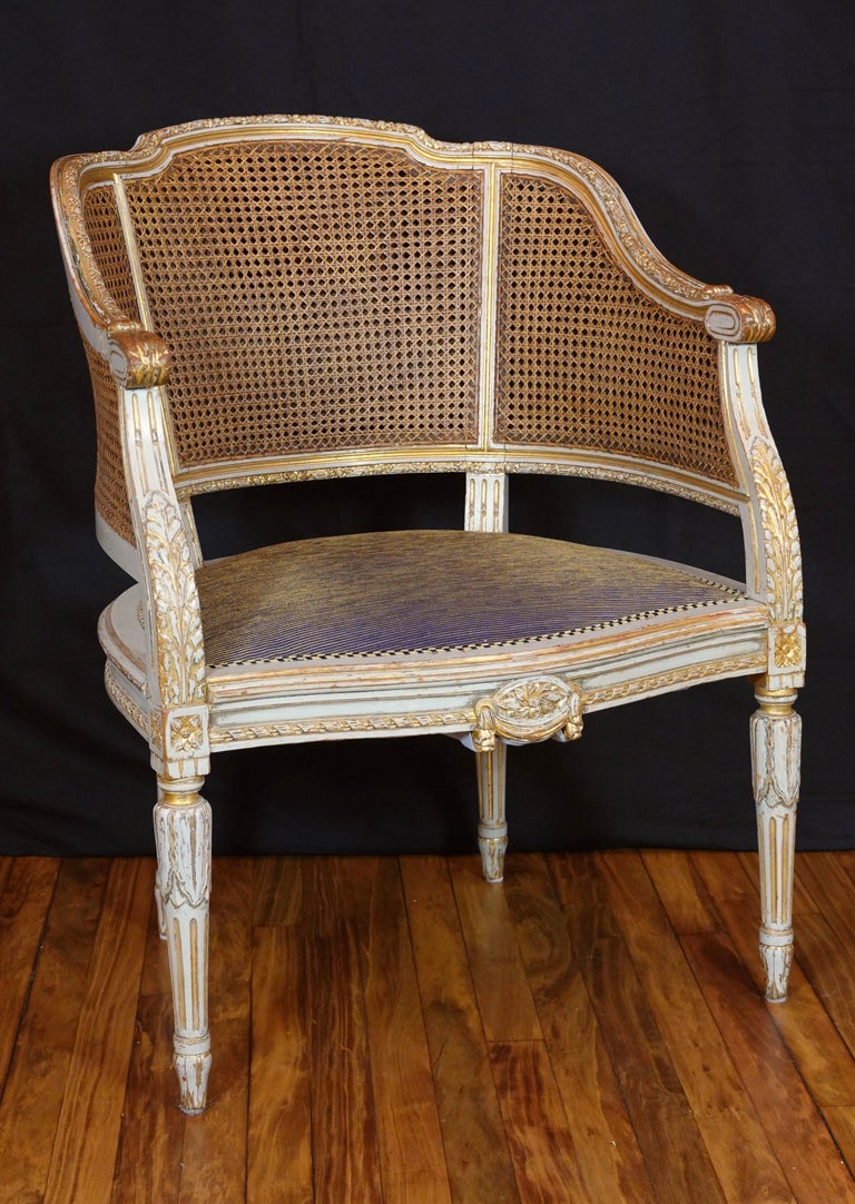 Polychromed French Louis XVI Style Desk Chair with Caned Back and Upholstered Seat For Sale